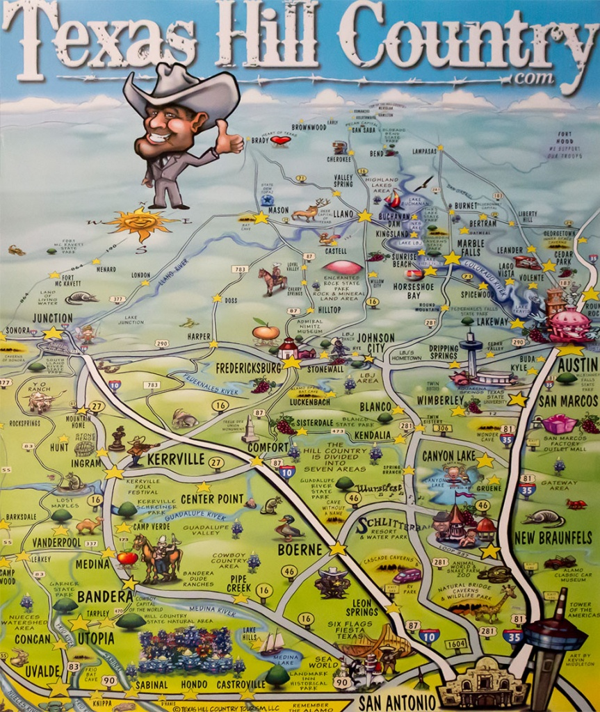 Texas Hill Country Map Poster - Texas Hill Country - Texas Hill Country Wineries Map