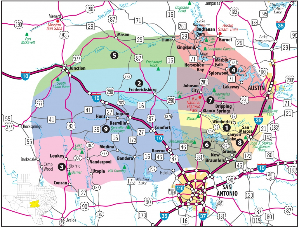 Texas Hill Country Map With Cities & Regions · Hill-Country-Visitor - South Texas Cities Map