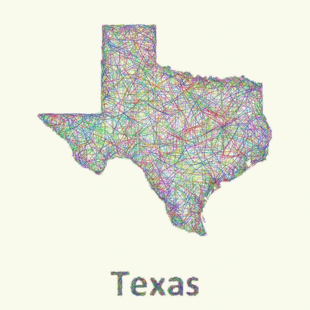 Texas Line Art Map Digital Artdavid Zydd - Texas Map Art