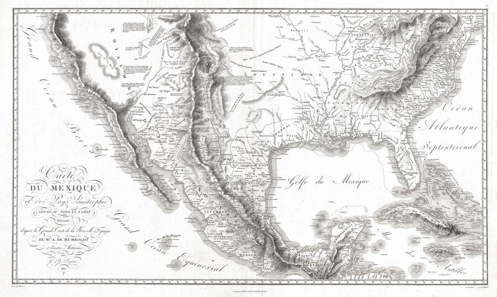 Texas, Louisiana, Florida And Mexico | 1811 Humboldt Map | « Divided - Texas Louisiana Map