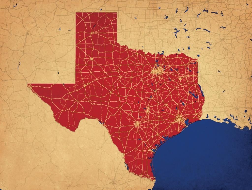 Texas Map Art - City Prints - Texas Map Art