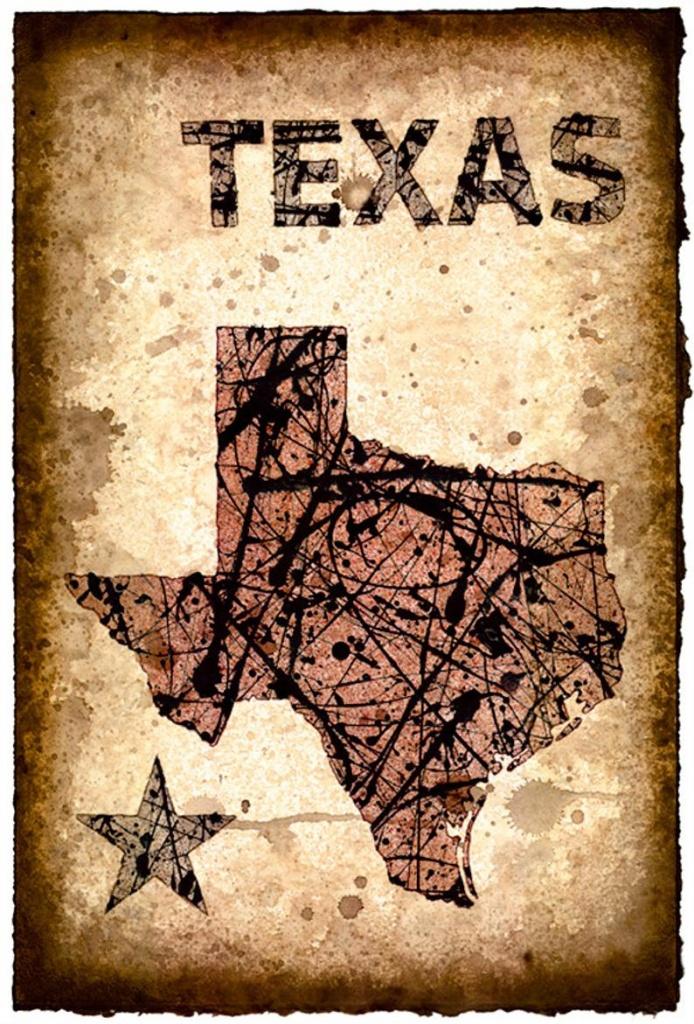 Texas Map Art Print 11 X 16.5 Stencil Prints Of   Etsy - Texas Map Art