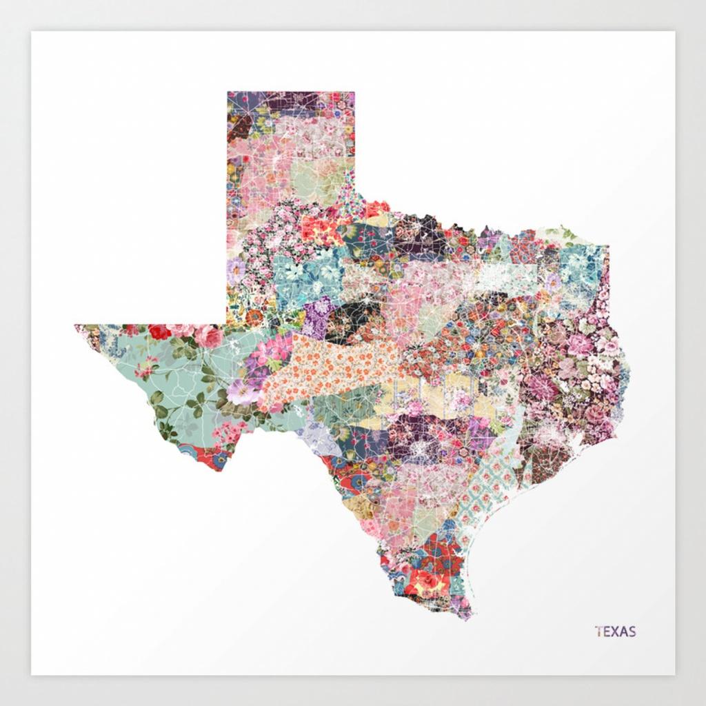 Texas Map Art Printpoeticmaps   Society6 - Texas Map Art