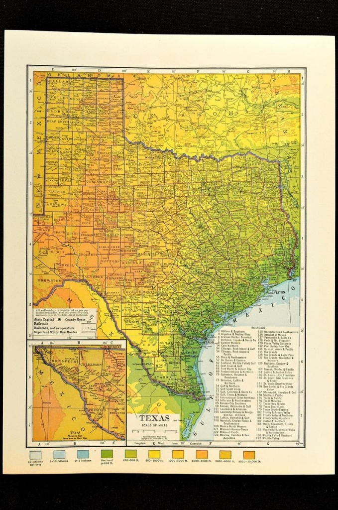 Texas Map Of Texas Topographic Map Wall Decor Art Colorful | Etsy - Texas Map Wall Art