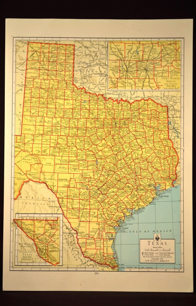 Texas Map Of Texas Wall Art Colored Colorful Yellow Vintage Gift - Old Texas Map Wall Art