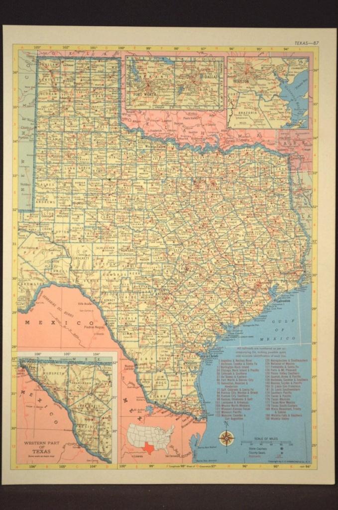 Texas Map Of Texas Wall Art Decor Vintage Old Railroad | Etsy - Old Texas Map Wall Art