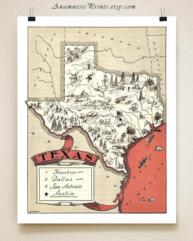 Texas Map Print Fun Vintage Picture Map Print To Frame   Etsy - Vintage Texas Map Prints
