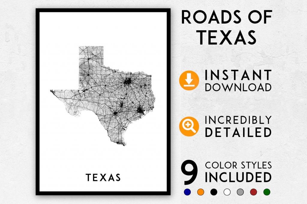 Texas Map Print Texas Print Texas State Map Usa Map Texas   Etsy - Texas Map Print
