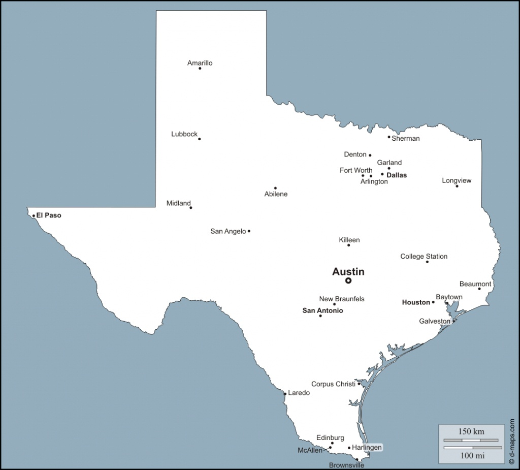 Texas Map With Major Cities | Dehazelmuis - Map Of Texas Major Cities