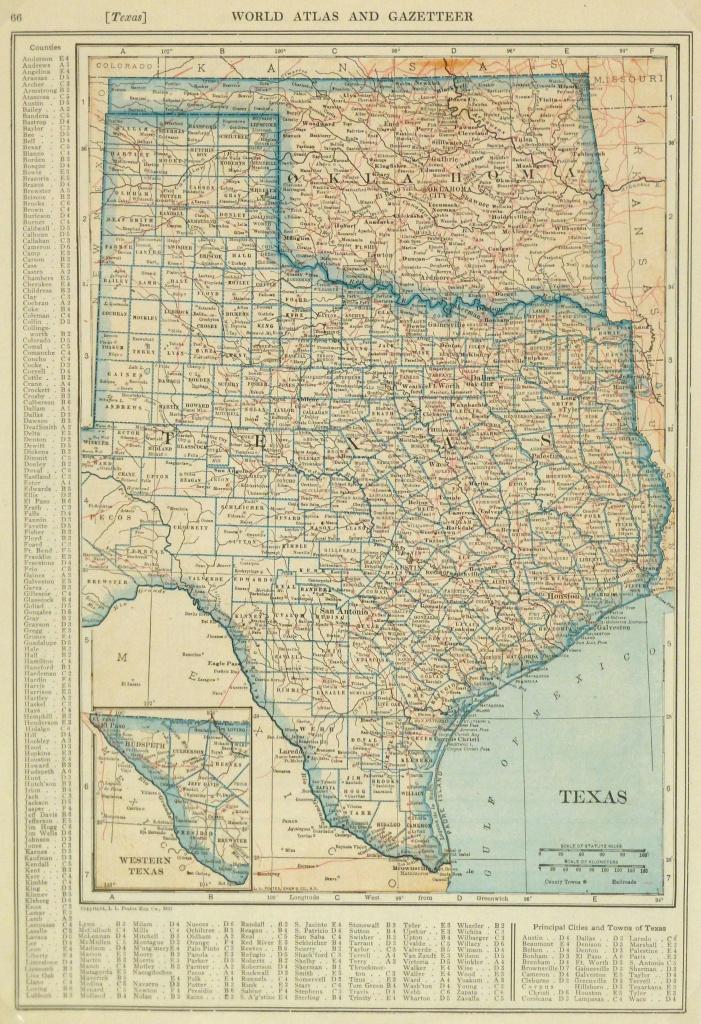 Texas & Oklahoma Map, 1921 - Map Of Oklahoma And Texas Together