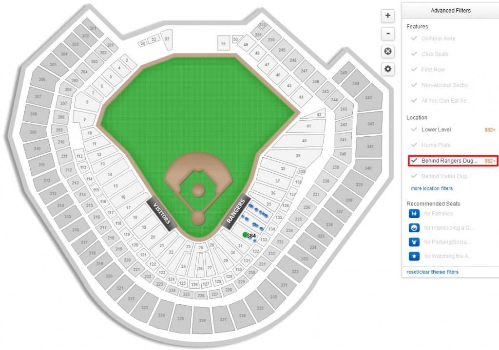 Texas Rangers Globe Life Park Seating Chart & Interactive Map - Texas Rangers Stadium Parking Map