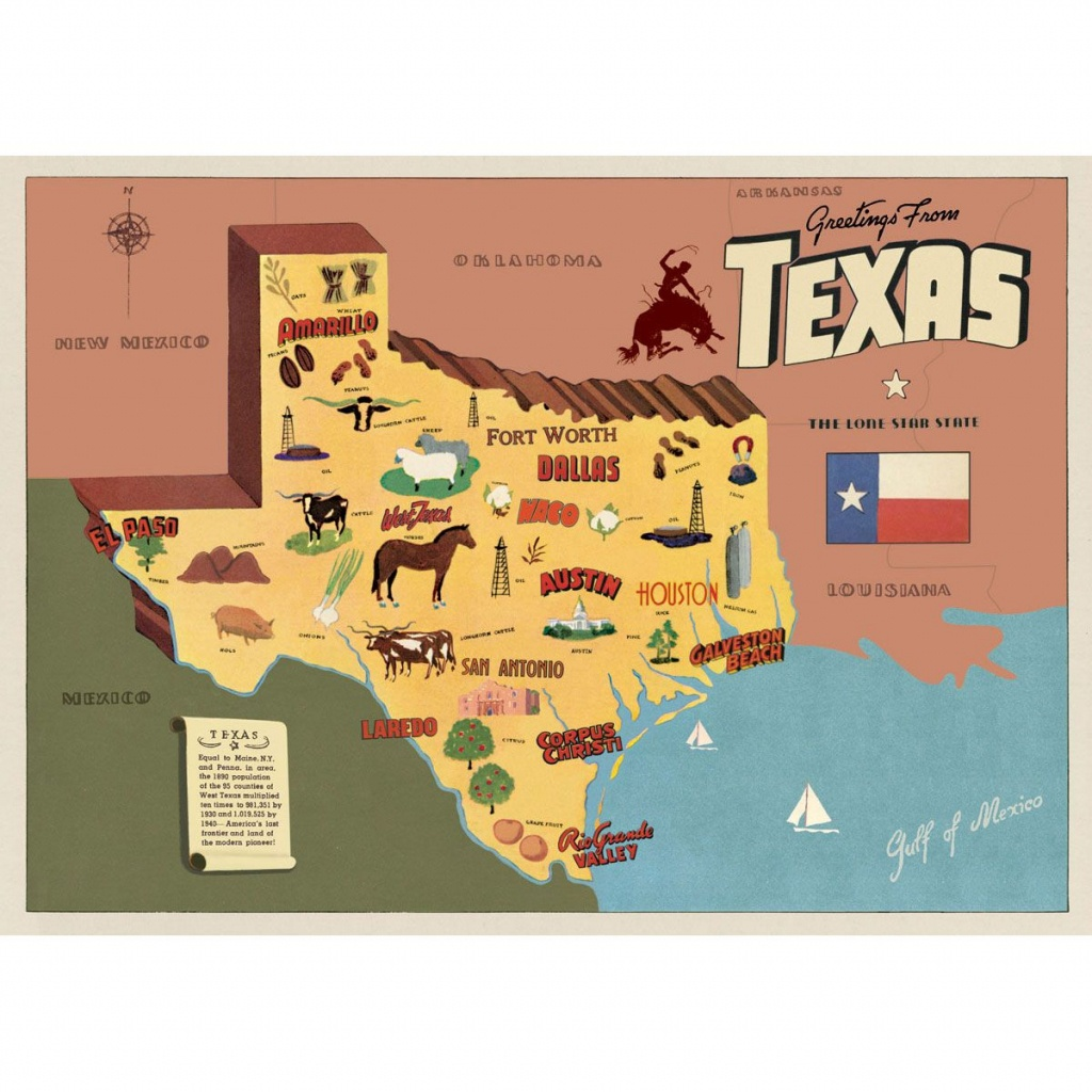 Texas Sightseeing Map Souvenir Vintage Style Poster_D   Big Boy Room - Texas Sightseeing Map