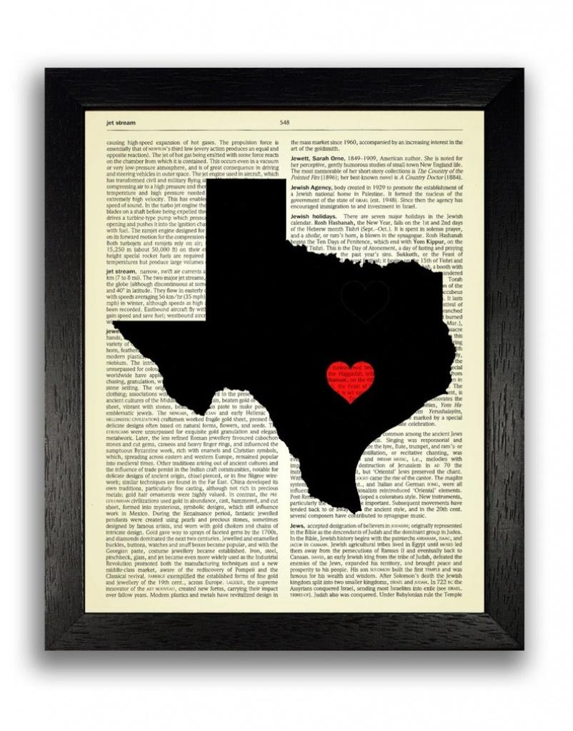 Texas State Art Print Texas State Map Poster Texas Love | Etsy - Texas Map Artwork