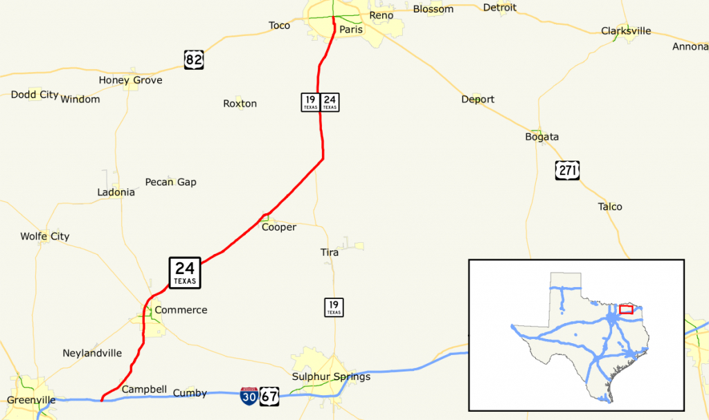 Texas State Highway 24 - Wikipedia - Paris Texas Map