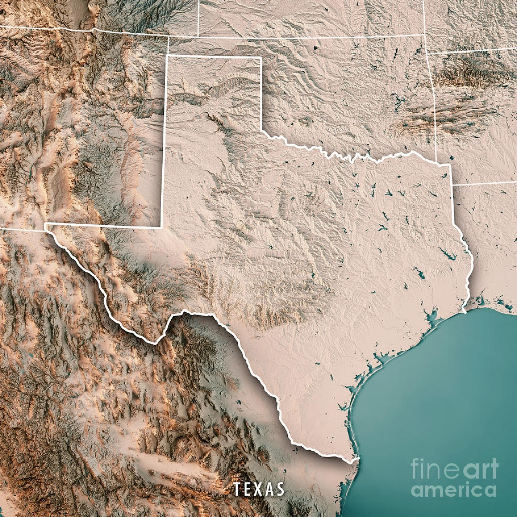 Texas State Usa 3D Render Topographic Map Neutral Digital Art - 3D Topographic Map Of Texas