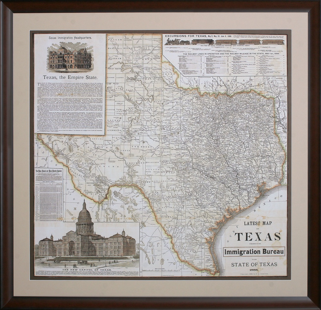 Texas - The Empire State - Gallery Of The Republic - Framed Texas Map
