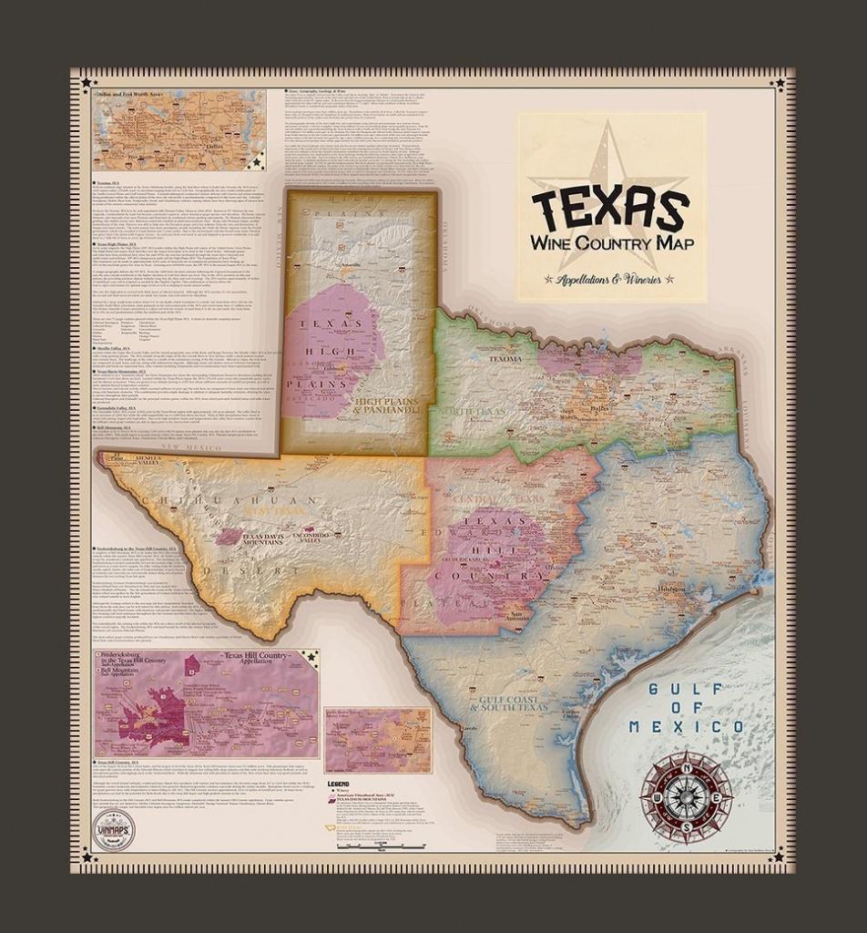 Texas Wine Country Map, Appellations & Wineries - Framed - Vinmaps® - Fredericksburg Texas Winery Map