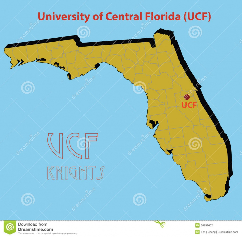 The 3D Map Of The University Of Central Florida ( Stock Vector - Map Of Central Florida