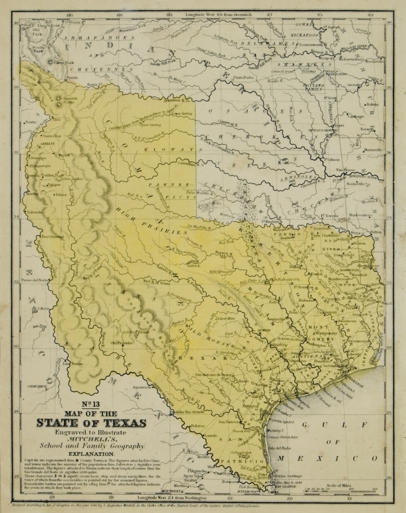 The Antiquarium - Antique Print & Map Gallery - Augustus Mitchell - Texas Map 1846