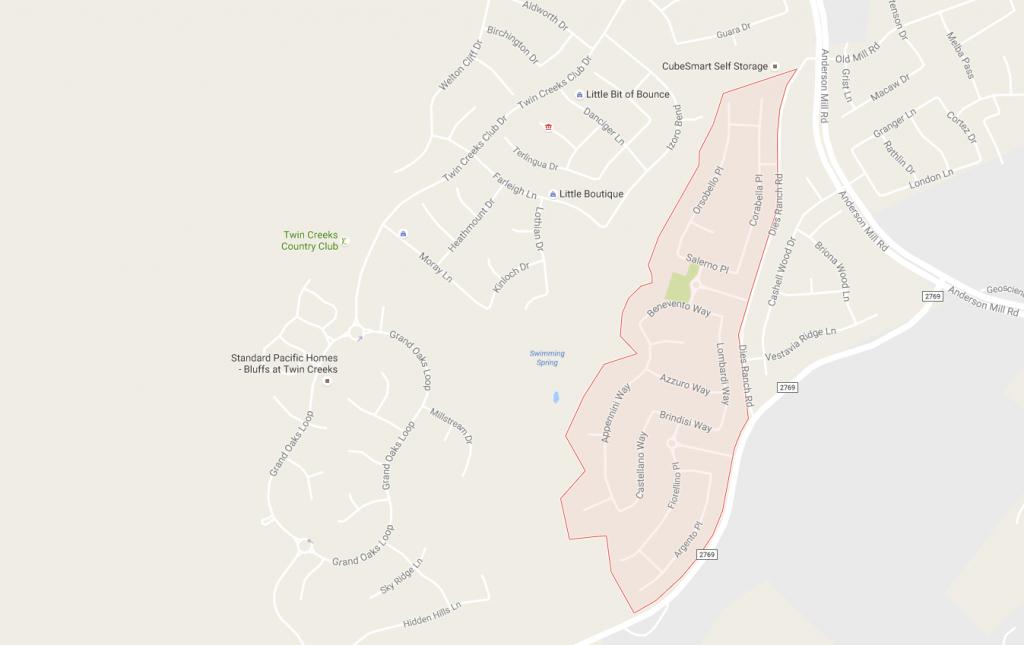 The Bella Vista Neighborhood In Cedar Park, Tx - Cedar Park Texas Map