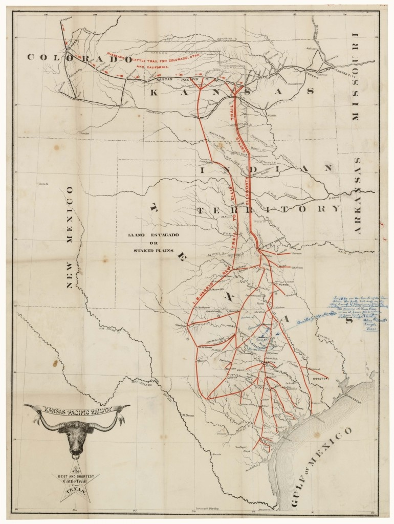 The Best And Shortest Cattle Trail From Texaskansas Pacific - Texas Cattle Trails Map