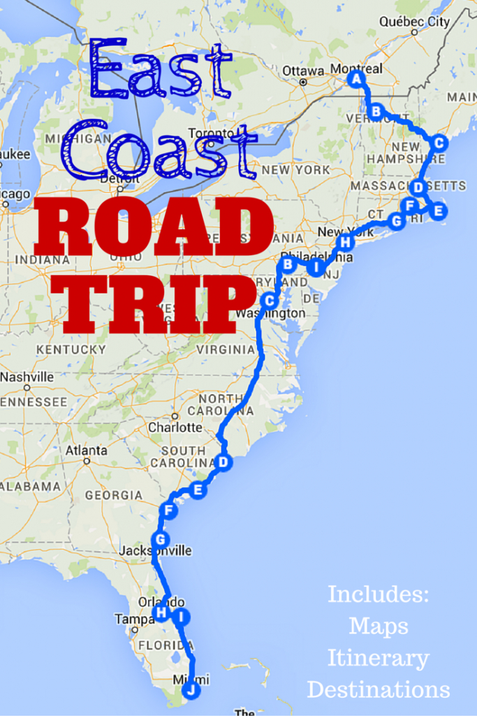 The Best Ever East Coast Road Trip Itinerary   Road Trip Ideas - California To Florida Road Trip Map