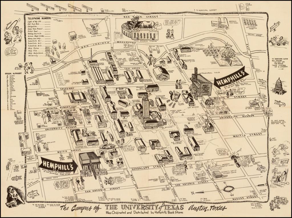 The Campus Of The University Of Texas. Austin, Texas. Map Originated - Map Store Austin Texas