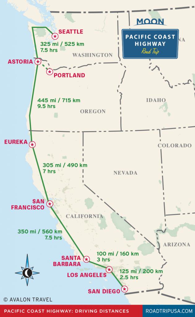 The Classic Pacific Coast Highway Road Trip | Road Trip Usa - California Coast Map 101