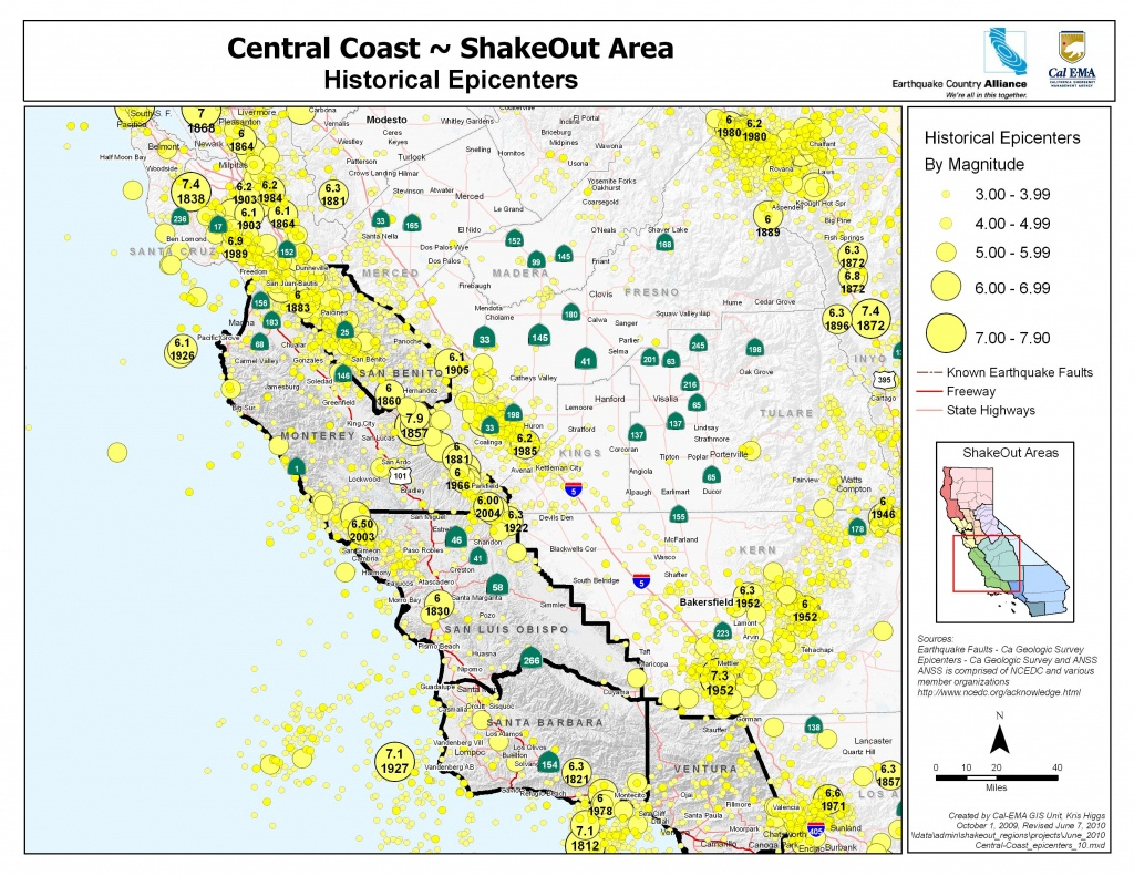 The Great California Shakeout - Central Coast Area - Usgs Recent Earthquake Map California