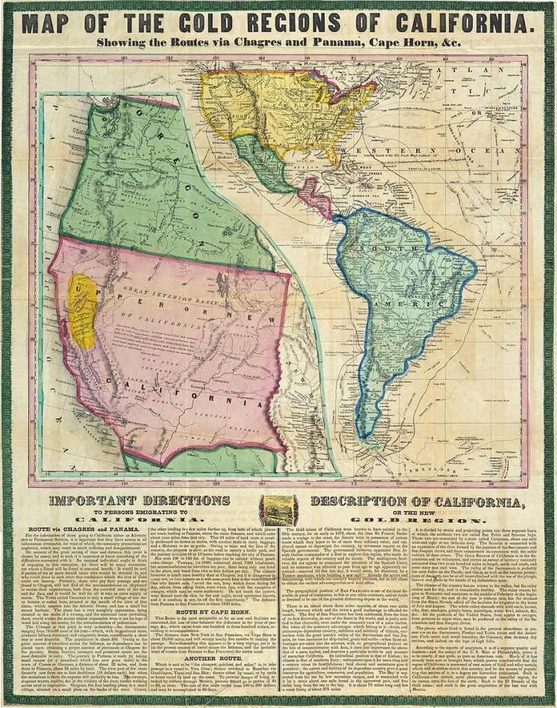 The Info On The Map Is Interesting Also - - - California Gold Rush - California Gold Mines Map