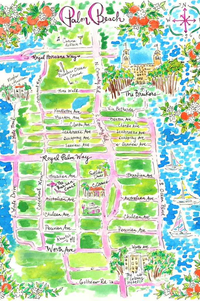 The Lilly Pulitzer Guide To Palm Beach | Travel Chic | Palm Beach - Map Of Palm Beach County Florida