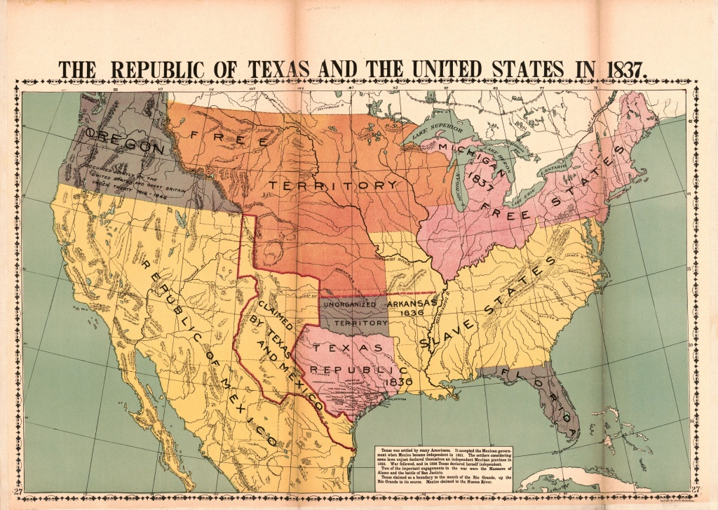 The Republic Of Texas And The United States In 1837   Library Of - Republic Of Texas Map 1845