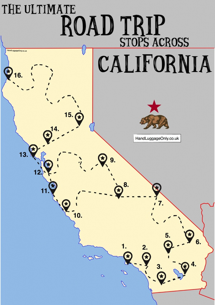 The Ultimate Road Trip Map Of Places To Visit In California - Hand - California Sightseeing Map