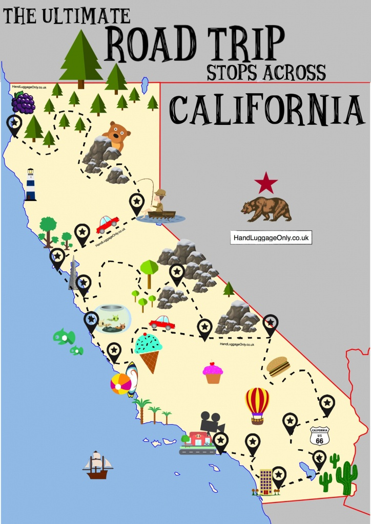 The Ultimate Road Trip Map Of Places To Visit In California - Hand - California Tourist Map