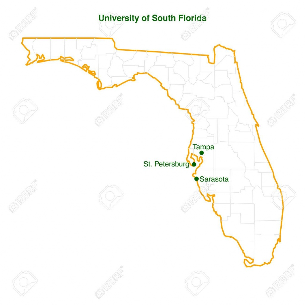 The Vector Map Of The University Of South Florida Usf Three.. - Tampa St Petersburg Map Florida