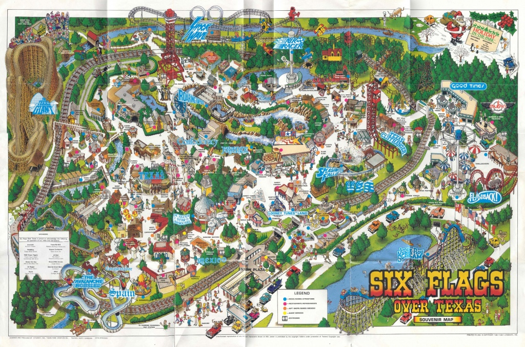 Theme Park Brochures Six Flags Over Texas - Theme Park Brochures - Six Flags Over Texas Map