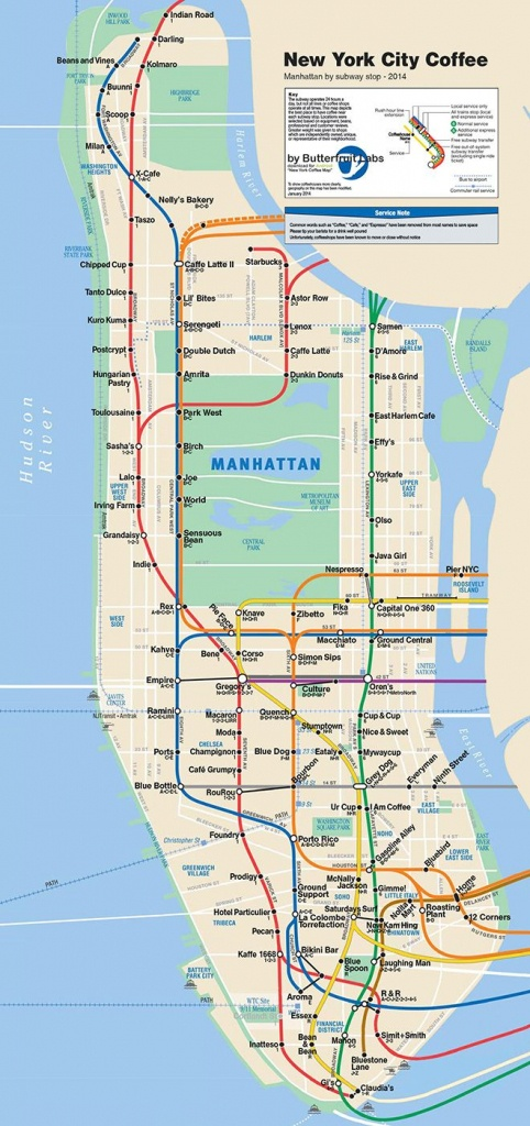 This Is The Only Coffee Shop Map Of New York City You'll Ever Need - Nyc Subway Map Manhattan Only Printable