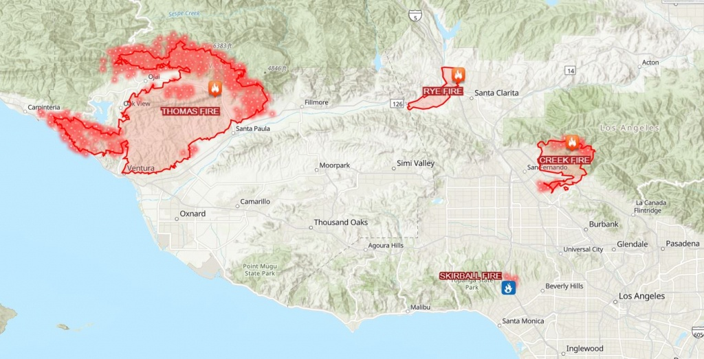 This Map Shows How Big And Far Apart The 4 Major Wildfires Are In - Southern California Fire Map