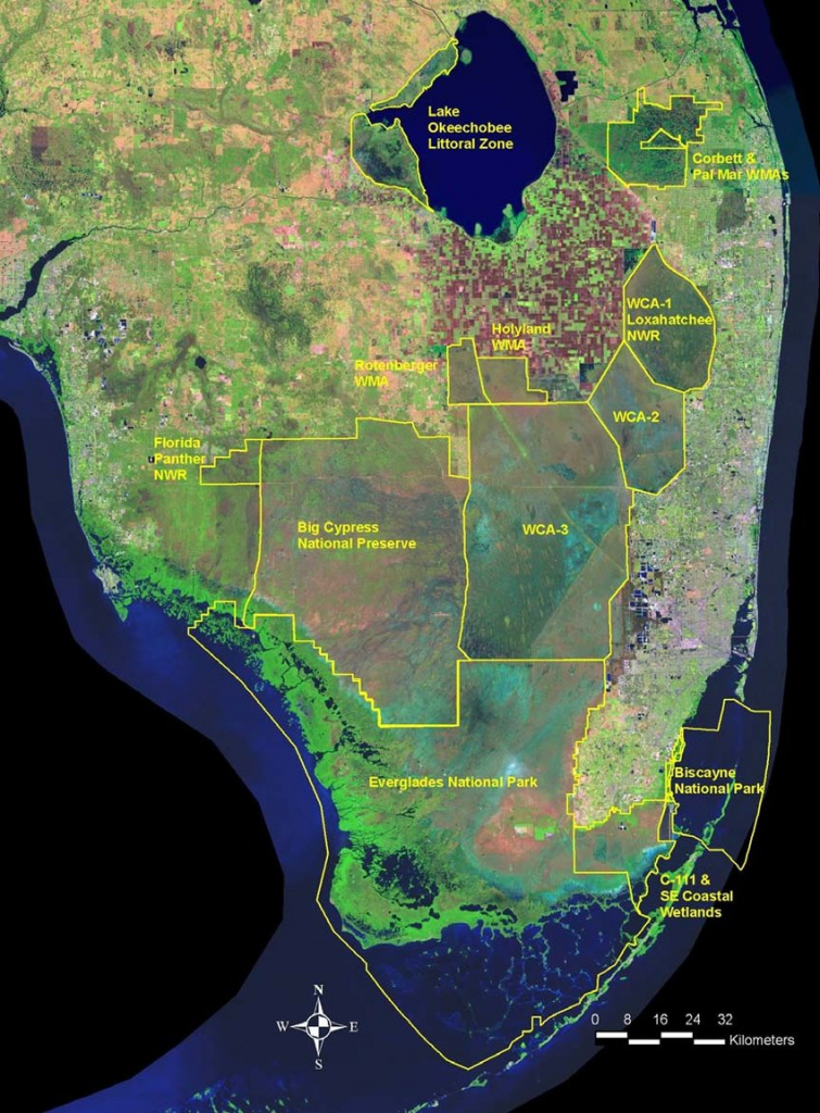 This Satellite View Of Far Southern Florida Shows The Region For - Satellite Map Of Florida