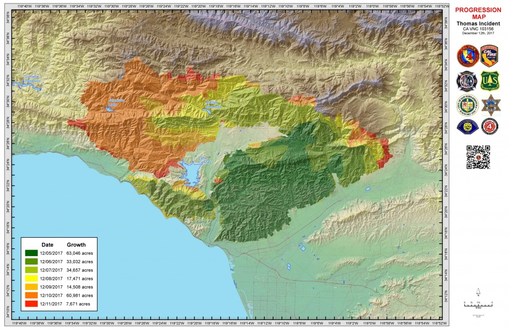 Thomas Fire Information - Map Of Thomas Fire In California