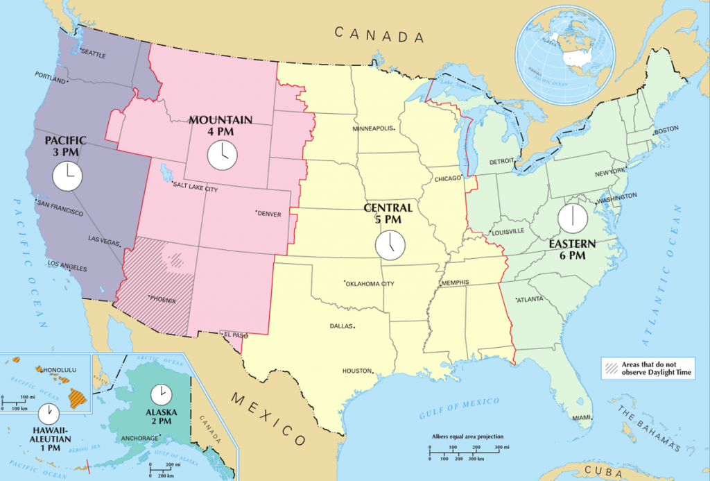 Time In The United States - Wikipedia - Printable North America Time Zone Map