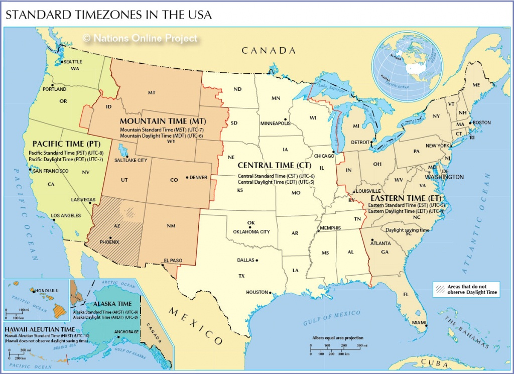 Time Zone Map Of The United States - Nations Online Project - Printable North America Time Zone Map