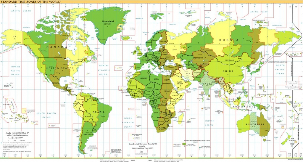 Time Zones Of The World Map (Large Version) - Printable Time Zone Map For Kids
