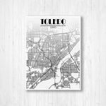 Toledo Ohio Street Map Fading Map Toledo Street Map City | Etsy   Printable Map Of Toledo Ohio