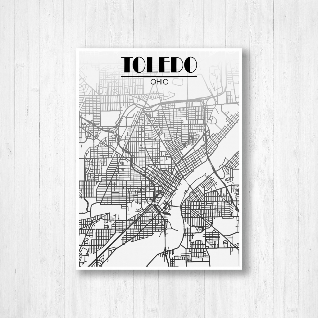 Toledo Ohio Street Map Fading Map Toledo Street Map City | Etsy - Printable Map Of Toledo Ohio
