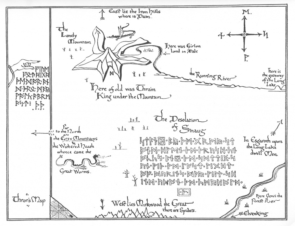 Tolkien Map - Thror's Map   Fantasy Maps   The Hobbit Map, Middle - Thror's Map Printable