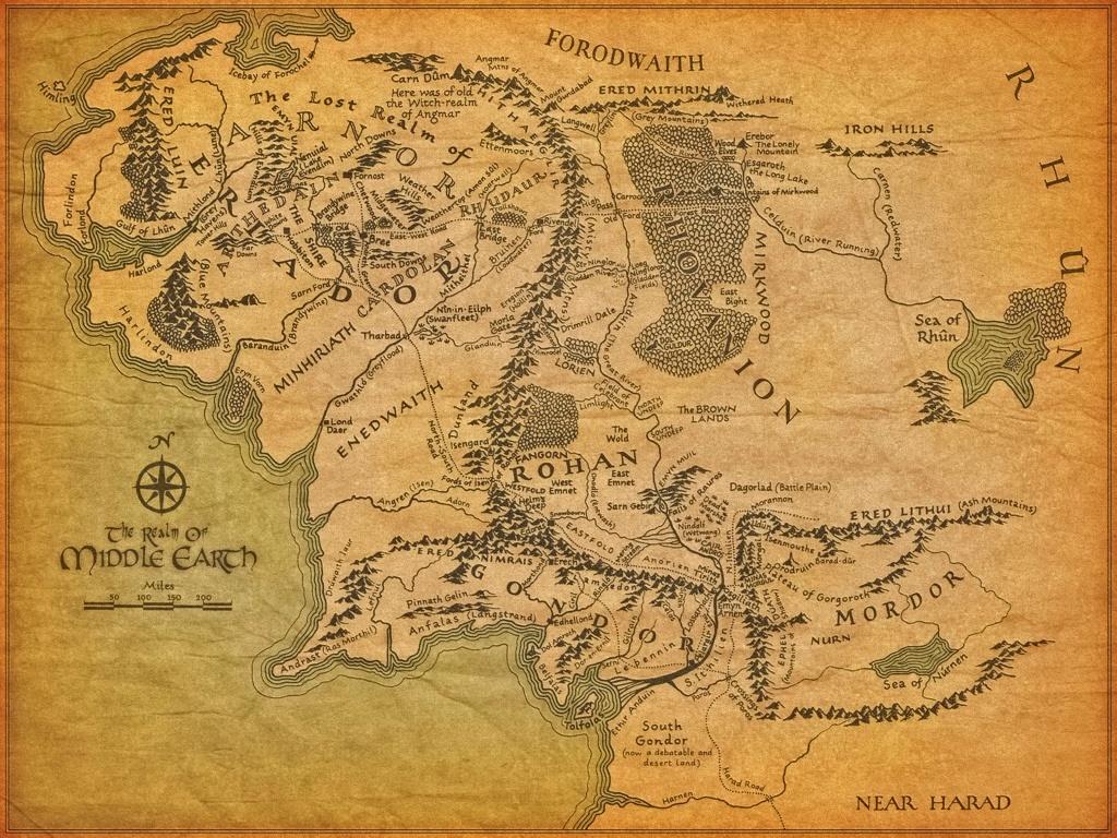 Tolkien's Map - Lawyers, Guns & Money - Printable Hobbit Map