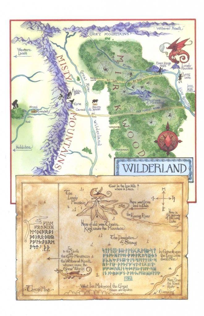 Tolkien's Map Of The Wilderland And Thror's Map..   Diorama - Thror's Map Printable