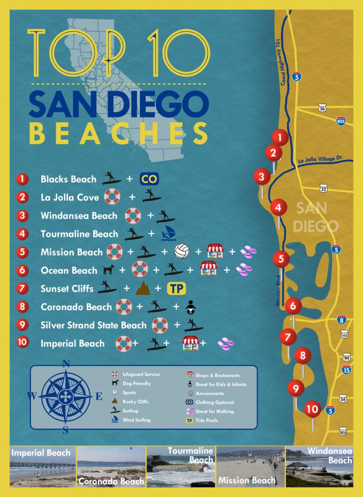 Top 10 San Diego Beaches #sandiego #beaches | San Diego Things To Do - Map Of Ocean Beach California
