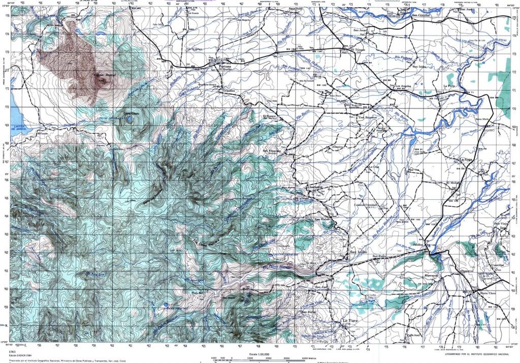 Topographic Maps Of Costa Rica - Topographic Map Printable